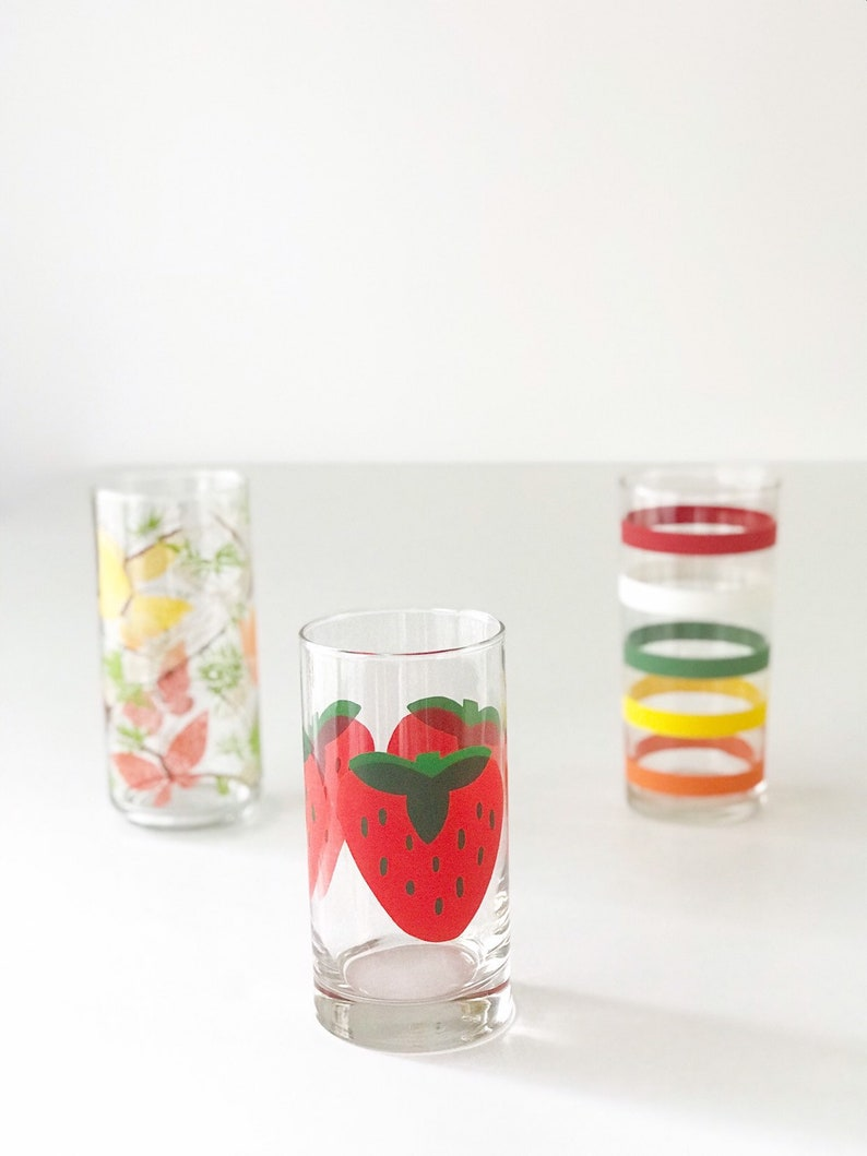 Vintage Juice Glass Set of 3 Strawberries Stripes & Butterfly image 0