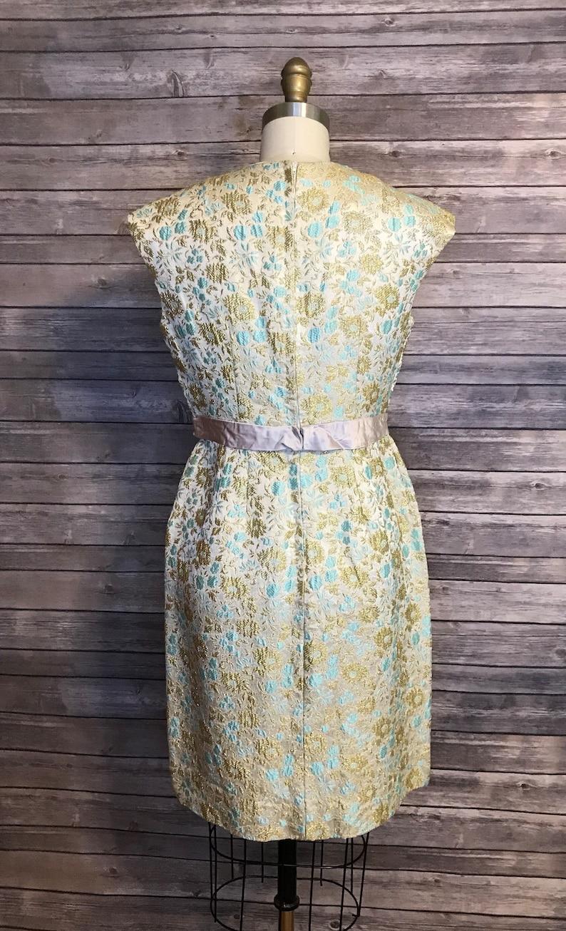 SIZE S 1950s Vintage Dress  50s 60s Green Brocade Wiggle Dress  Vintage Brocade Cocktail Dress S M