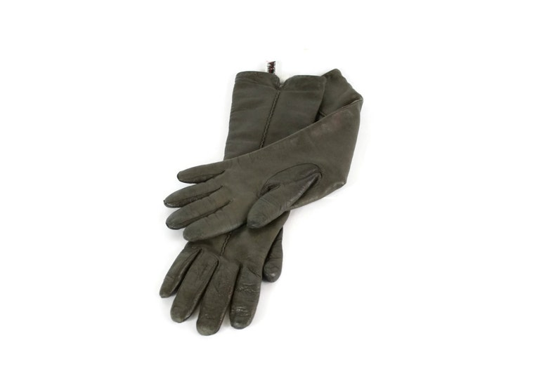 Vintage Brown Leather Driving Gloves / 1970s Italian Knit image 0