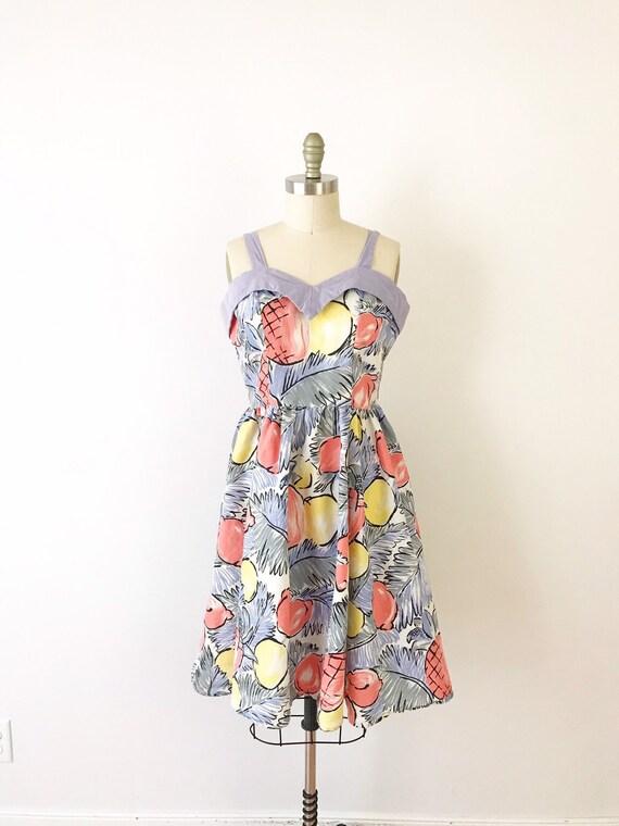 SIZE L Fruit Print Dress, 1980s Vintage Tropical F