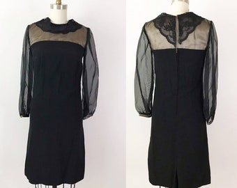 SIZE XS 1960s Vintage Black Sheer Sleeve Gothic Dress - Halloween Collared Black Mini Dress - Wednesday Addams