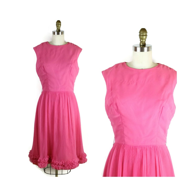 1960s Pink Cocktail Dress / 60s Flirty Dress / Mid Century image 0