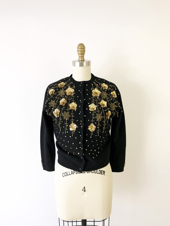 1950s Spiderweb Floral Beaded Cardigan / 50s Black