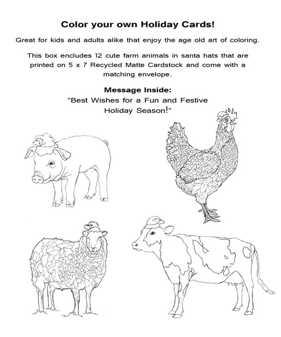 color your own holiday cards etsy