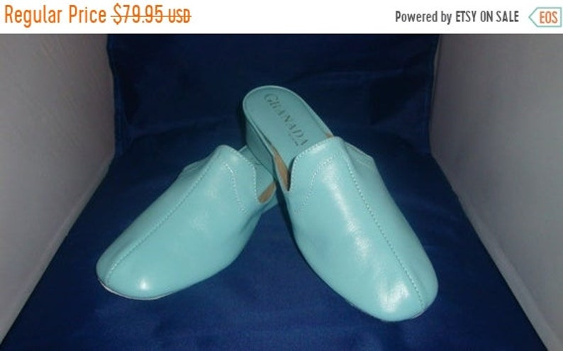 ON SALE Vintage Granada Classic Light Blue Leather Slippers/ image 0