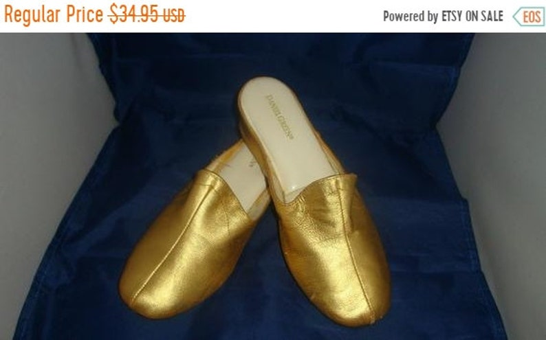 ON SALE Vintage Daniel Green Classic Gold Leather Slippers/ image 0