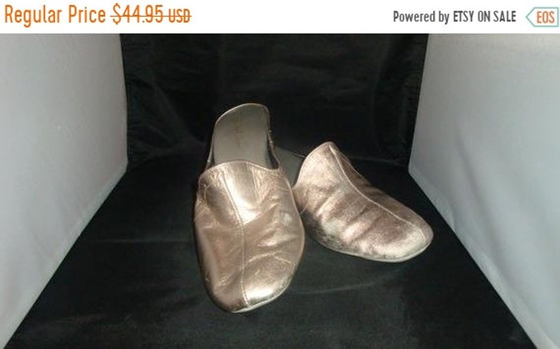 ON SALE Vintage Daniel Green Classic Pewter Leather Slippers/ image 0