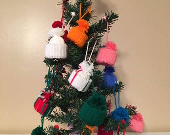 tacky christmas tree ornaments pom pom ornament hats christmas ornaments christmas tree decor miniature hats