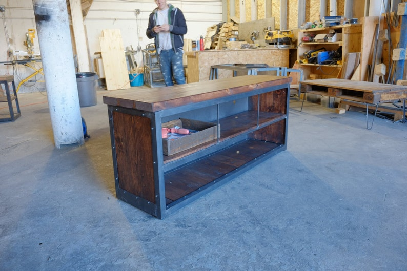 Industrial Mid Century Media Console Credenza w Wood panel Sides