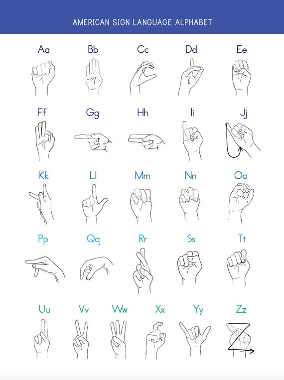 Satisfactory image with american sign language alphabet printable