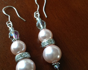 Pink Pearl crystal earrings - earrings - Earrings - Wedding Earrings