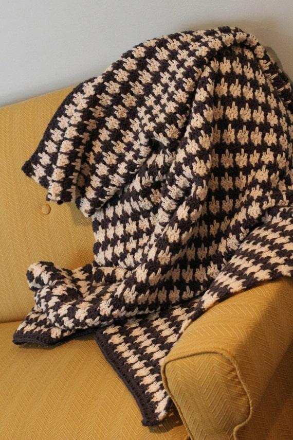 Crochet Houndstooth Blanket Afghan Throw Pattern Pdf Etsy