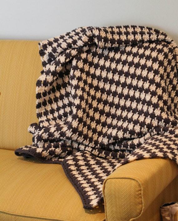 Pattern Crochet Houndstooth Blanket Afghan Throw Pattern Etsy