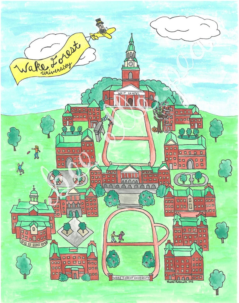 Wake Forest University Map Print | Etsy
