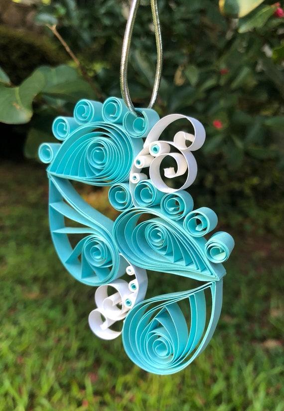 Handmade Quilled Light Blue Baby Feet Window Ornament Decoration Suncatcher Baby Boy Gift