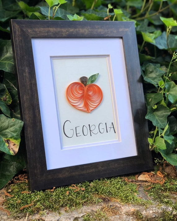Georgia Peach Quilled Paper Art - 8x10 framed