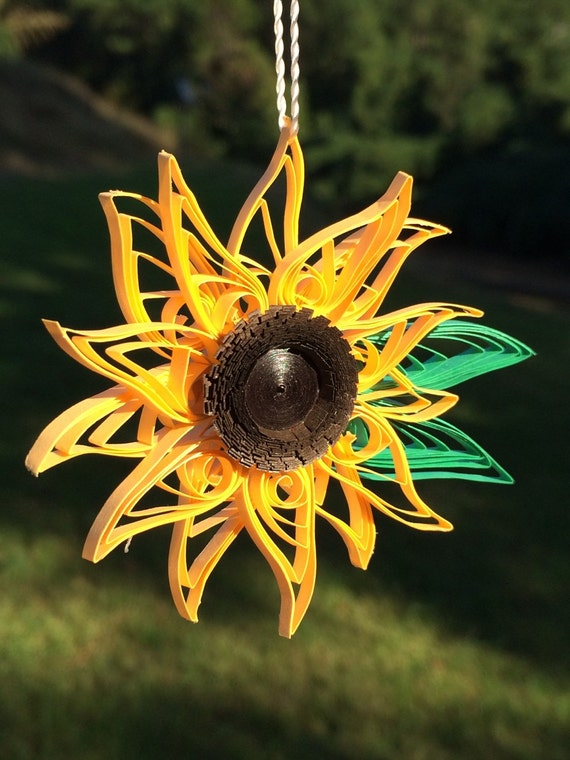 Handmade Quilled Yellow Sunflower Window Ornament Decoration Suncatcher Flower