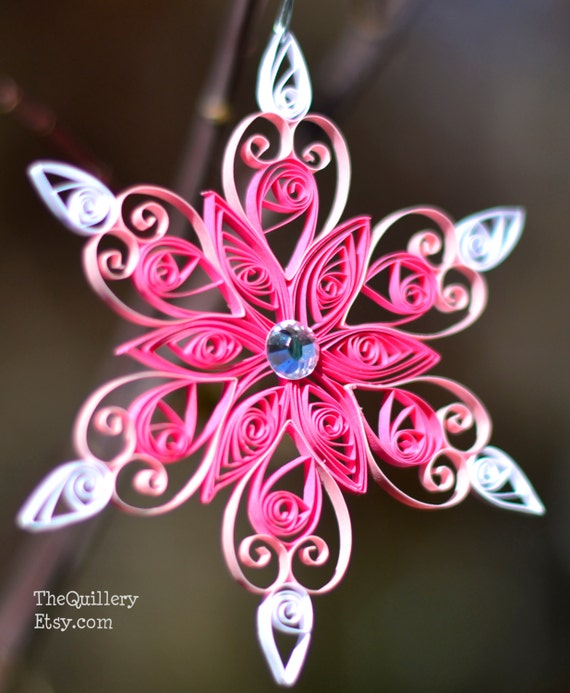 Quilled Paper Art Pink Snowflake Christmas Ornament or Decoration Handmade