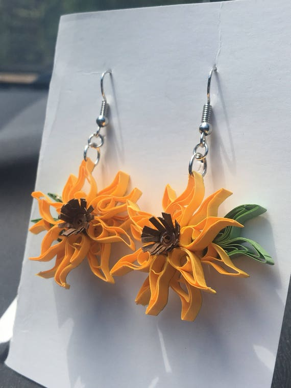 Quilled Yellow Sunflower Paper Art Earrings Jewelry