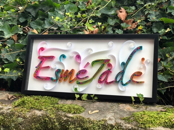 Handmade Quilled Paper Custom Name Wall Art - Baby Children's Birthday