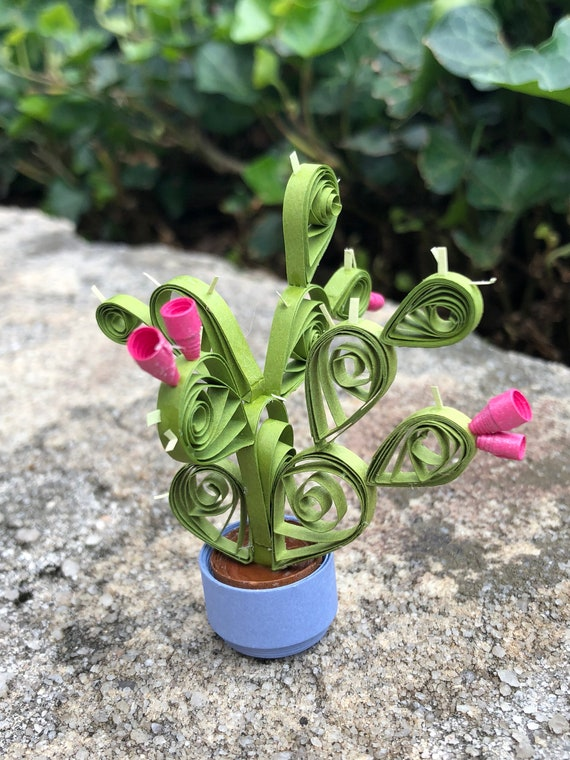 Handmade Quilled Paper Mini Cactus Desk or Window Decoration Succulent Ornament