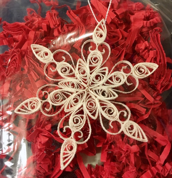Quilled Paper Art Christmas Ornament White Snowflake with Glitter