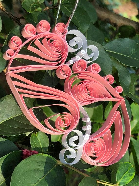 Handmade Quilled Light Pink Baby Feet Window Ornament Decoration Suncatcher Baby Girl Gift Gender Reveal