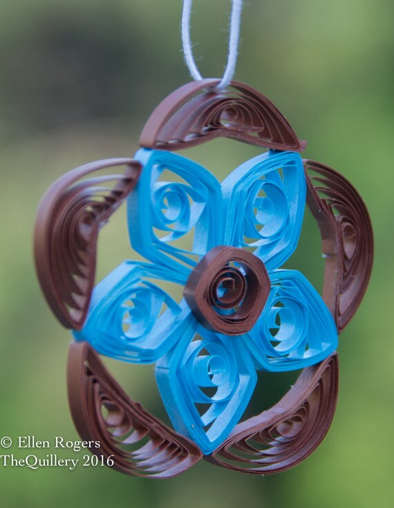 Sale! Quilled Paper Window Ornament Decoration Suncatcher Metallic Bronze Brown & Teal Blue Flower One of a Kind