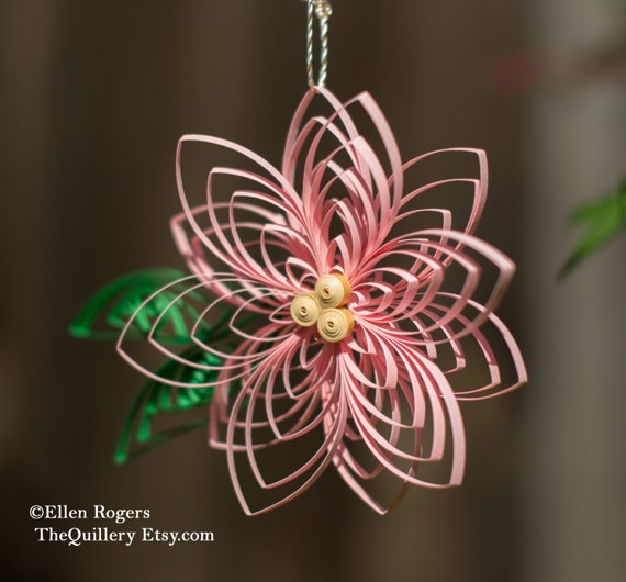 Quilled Pink Poinsettia Flower Christmas Ornament or Decoration