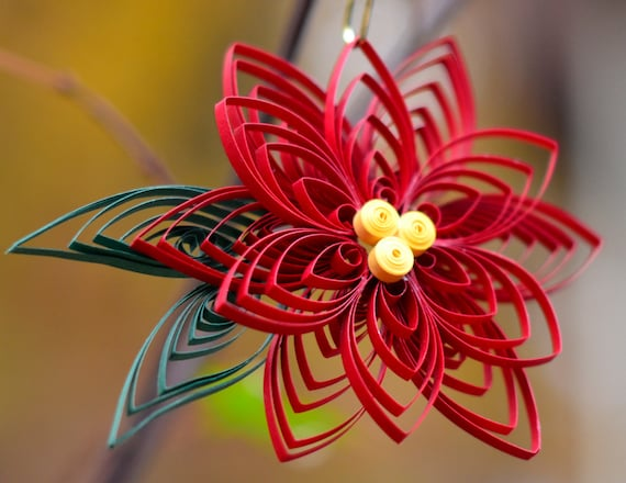 Quilled Paper Art Handmade Poinsettia Flower Christmas Ornament or Decoration