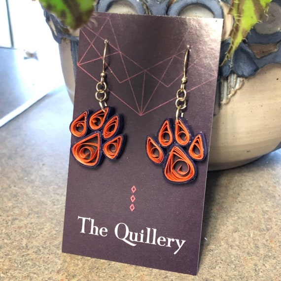 Quilled Clemson Tiger Paw Inspired Paper Art Earrings Jewelry