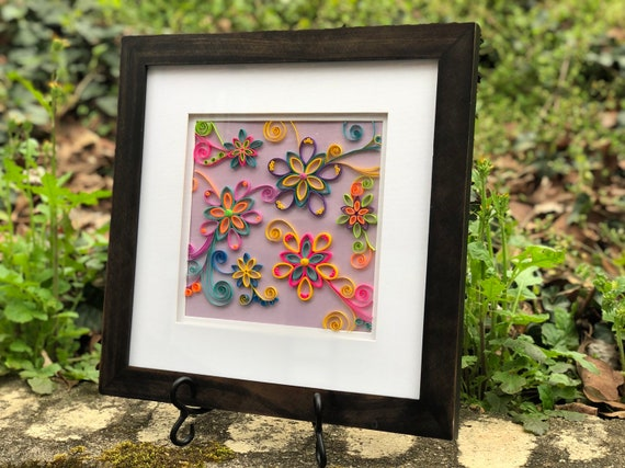 "Brilliant Blooms - Framed Quilled Paper Neon Pop Art Flowers - Framed 14""x14"""
