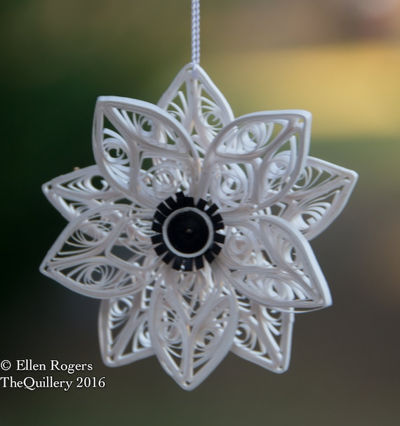 Quilled Paper Art Christmas Ornament White Anemone Flower - Wedding Paper Anniversary
