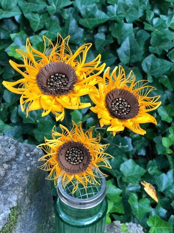 Handmade Quilled Yellow Sunflower Flower Bouquet Flower 3 Stems