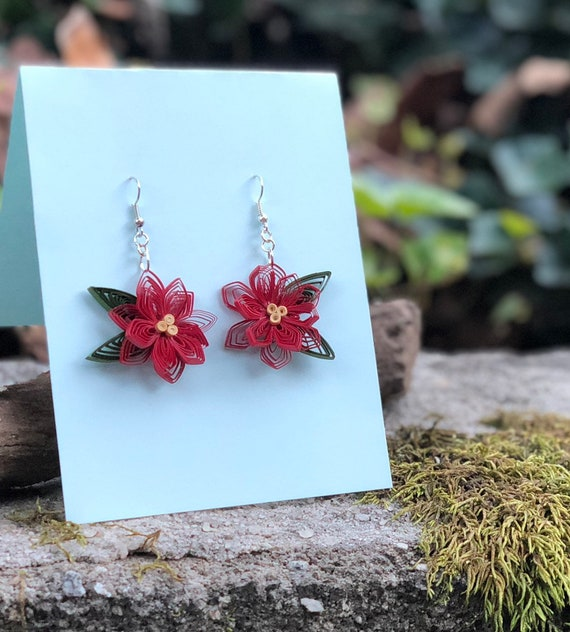 Quilled Red Poinsettia Paper Art Earrings Jewelry Christmas Holidays