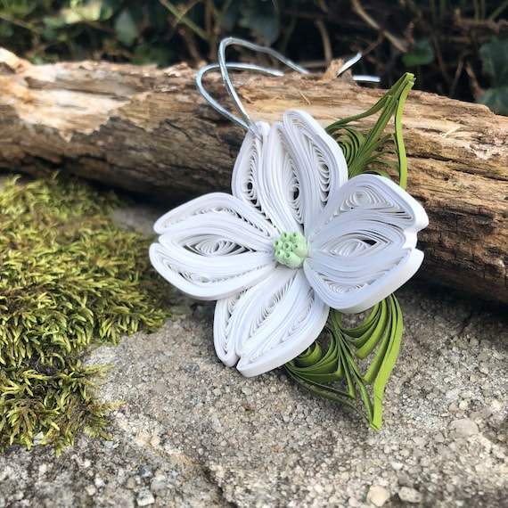 Handmade Quilled Paper Dogwood Ornament Window Decoration Flower Ornament