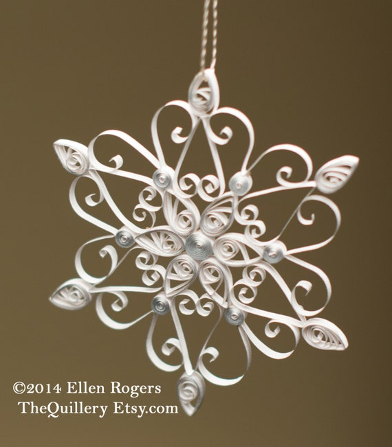 Quilled Paper Art Christmas Ornament Silver & White Snowflake