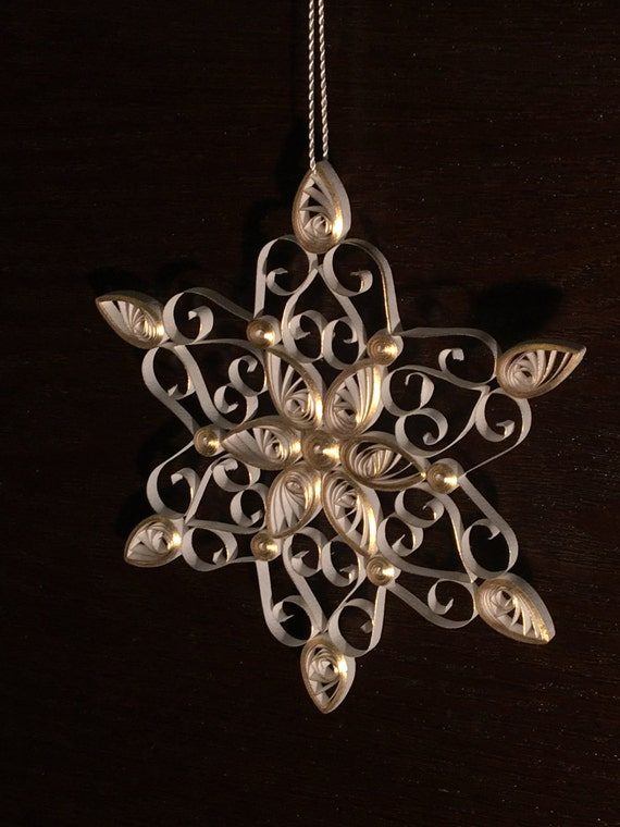 Handmade Quilled White and Gold Snowflake Christmas Ornament or Decoration