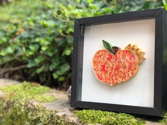 Georgia King Peach Quilled Paper Art - 10x10 Shadowbox Framed ATL UTD United