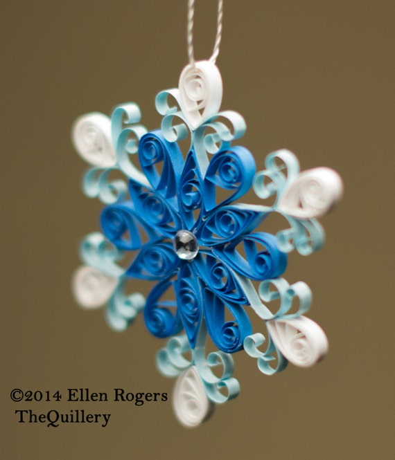Handmade Frozen Inspired Quilled Blue Snowflake Christmas Ornament or Decoration