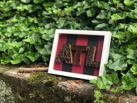 Atlanta United Quilled Paper Art - 5 Stripes Red Black Gold -8x10 framed