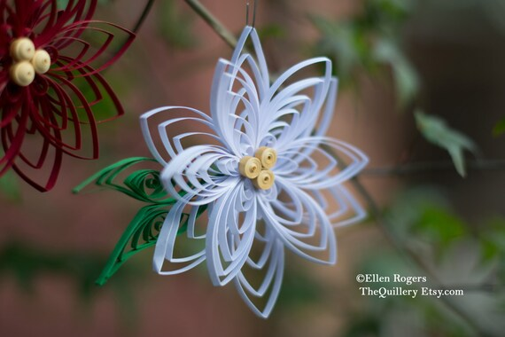 Quilled White Poinsettia Flower Christmas Ornament or Decoration