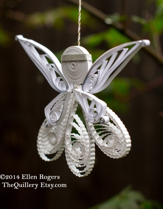 Quilled White and Silver Angel Christmas Ornament or Decoration