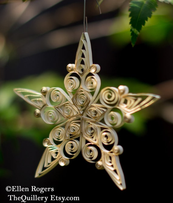 Quilled Cream and Gold Star Christmas Ornament or Decoration
