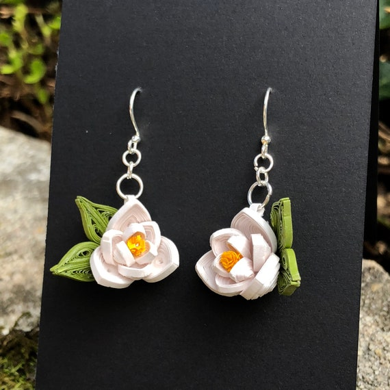 Quilled Southern Magnolia Flower Paper Art Earrings Jewelry White Mother's Day