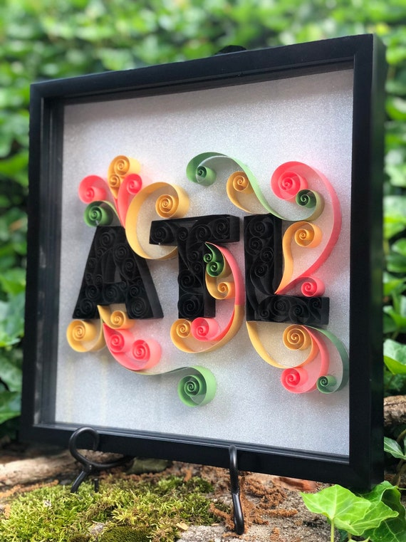 "Atlanta Unique ATL Quilled Paper Art Letters -12""x12"" framed Handmade"