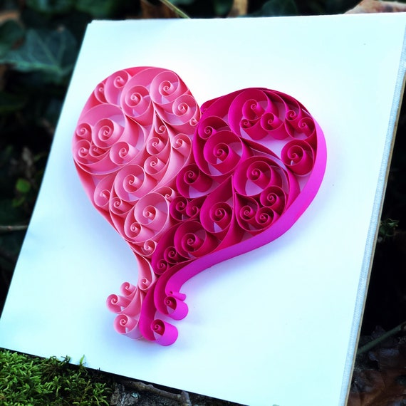 Quilled Paper Heart Valentines Wall Art 10x10 framed Love