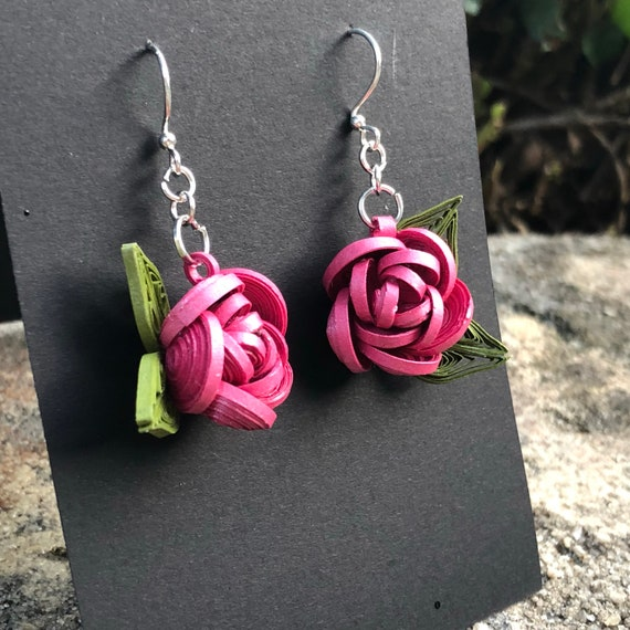Quilled Pink Rose Flower Paper Art Earrings Jewelry