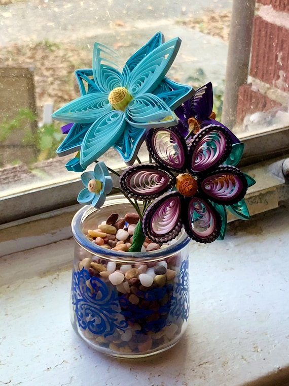 Handmade Mini Quilled Blue and Purple Flower Bouquet with vase