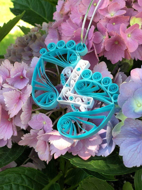 Personalized Initial Handmade Quilled Light Blue Baby Feet Window Ornament Decoration Suncatcher Baby Boy Gift